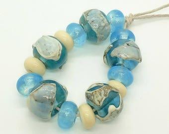 Aqua Ivory Organic Beach Handmade Lampwork Glass Beads - Prima Donna Beads
