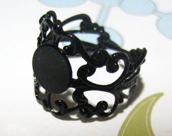 Black filigree rings, adjustable ring bases, pick your amount,  A162