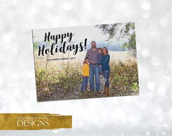Photo Holiday Card – Happy Holidays Photo Card – Black Christmas Card – Holiday Photo Card for Families or Couples – Single Photo Card