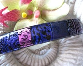 Large Barrette, OOAK, Purple Dichroic Barrette, Hair Barrette, French Barrette. Fused Glass Barrette, Purple Clip, cCVALENZO, 061117ba102