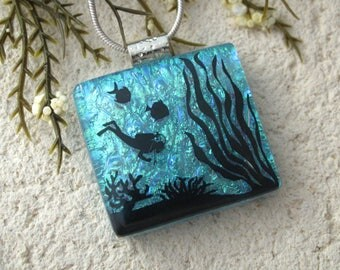 Diving Necklace, Diver Necklace, Dichroic Jewelry, Fused Glass Jewelry, Turquoise Necklace, OOAK Jewelry, ccvalenzo, 092717p104
