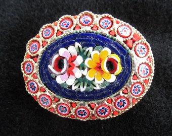 Vintage Micro Mosaic Millefiori Glass Brooch Pin