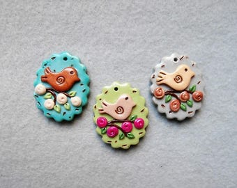 Bird Charms/Nature Charms/Purse Charms in Polymer Clay - Set of 3 - Bye, Bye, Birdie