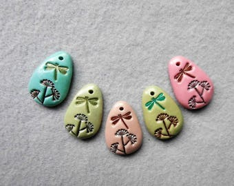 Firefly/Dragonfly Charms/Dandelion Charms in Polymer Clay - Set of 5 -  Fireflies and Dandelions