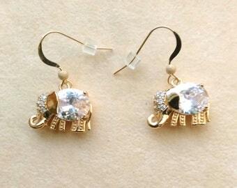 Unique  Elephant Earrings, Rhinestone Elephant Earrings, Golden Elephant Charm, Gold Filled Ear Wire - Elephant Earrings by enchantedbeads