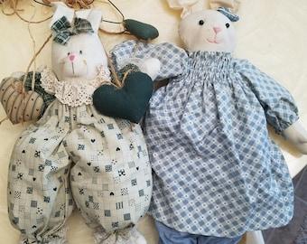2 handmade country bunnies