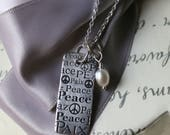 Sterling Peace pendant necklace Pearl or crystal charm and SS 18in chain