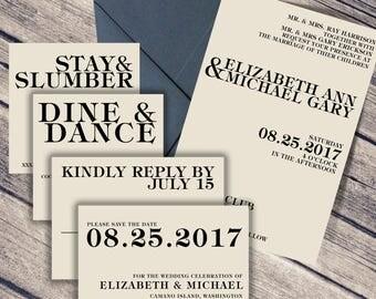 Modern Wedding Invitation / Simple Wedding Suite / Text Invitation Suite / Modern / Simple / Wedding Invitation Suite / Black / Cream