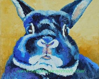 "Original Polish Bunny Oil Painting 8""x8"" by Sandra Spencer"