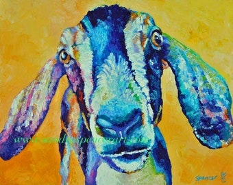 "Original Nubian Goat Oi Painting in bright colors 11""x14"" painted by knife"