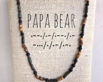 Papa Bear Necklace - Morse code necklace for men Great gift for dad or Gift for a new dad.  Mens necklace