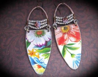 Bohemian Gypsy Dangle Earrings. Tin Earrings. Tin Jewelry. Boho Dangle Earrings