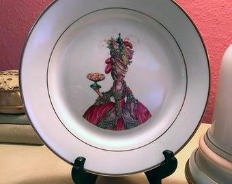 "Marie Antoinette ""Let them eat Cake"" Pastry Cabinet Plate Porcelain 8 in"