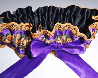 Orange•Black•Purple Skull Garter•Halloween Garter•Garter Belt-•Wedding-Rocker•Biker•Autumn Wedding Garter•Purple Garter•Day of Dead•Bride