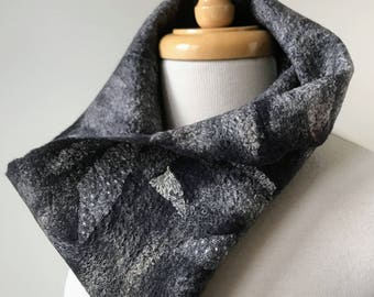 Fiber Art Cowl Neck Scarf, Hand Felted, Merino Wool, Antique Lace, Silk, Neckwarmer, Wrap, One of a Kind, Soft, Fashion, Unique