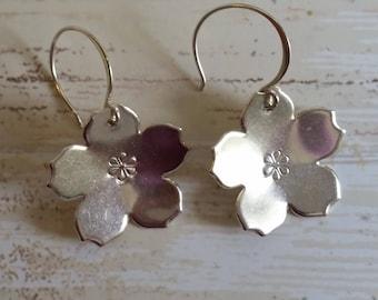 Sterling Silver Sakura Flower Dangle Earrings
