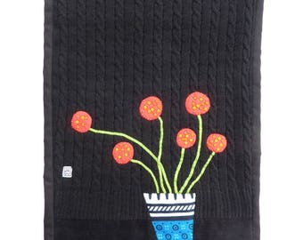 Red Flowers in a Vase - Wall Hanging - handmade appliqué textile art - recycled, repurposed, eco