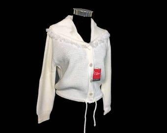 Vintage Women's Sweater, 1960's, White Cardigan, Shawl Collar, Drawstring Waist, Acrylic, Peter Fruend, Mazet, Medium, New Old Stock