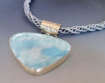 Larimar Sterling Silver Grey Kumihimo Braid Necklace