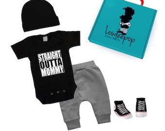 ROCKSTAR BABY KIT Straight Outta Mommy black onesie, grey pants, hat, booties & optional gift box