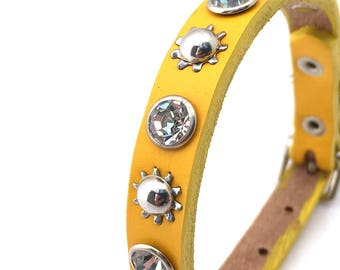 Yellow Leather Dog Collar with Silver Sprockets and Rhinestones, Size XS/S, to fit a 7-10in Neck, Tiny Dog, EcoFriendly, USA Handmade, OOAK