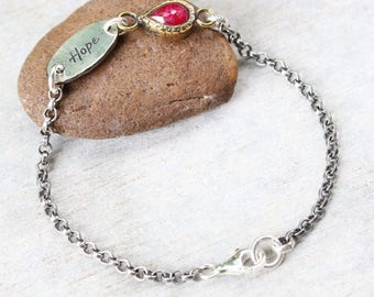 HOPE,Tiny teardrop faceted ruby bracelet in brass bezel setting and sterling silver oxidized rolo chain