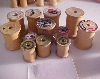 lot of 12 vintage Wooden Sewing Spools #1