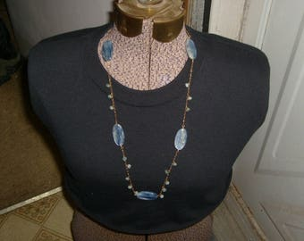 Blue and white swirled, glass beaded necklace. Plus size 24 inches