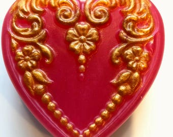Heart Soap, Handmade Soap, Heart, Valentine Heart, Vegan, Gilded, Glitter,  Gift Soap, Gift for Vegan, Valentine Decor, Sweetheart Gifts