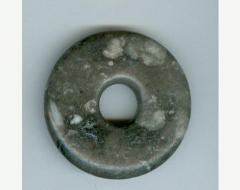 PI DAY SALE 45mm Shades of Gray and White Jasper Gemtone Pi Donut Focal Pendant 839