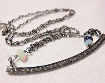 "Oxidized Sterling Silver Diamonds ""Swing"" Pendant and Chain, Oxidized Sterling Silver and Natural Opal Necklace"