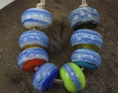 ON SALE Handmade Glass Lampwork Bead Set (8) Handmade by Jason Powers SRA