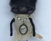 Carly the black cat Ooak art doll