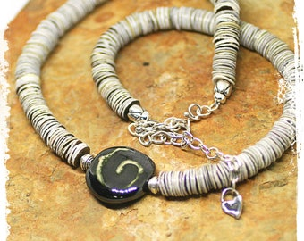 Black and gray short boho necklace, Kazuri bead necklace, Gray sterling silver necklace for women, Rustic bohemian necklace, Neutral colors,