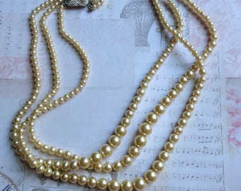 Vintage Glass Pearl Necklace With Three Graduated Strands of Pearls With Rhinestone Clasp, Marked Marvella, Something Old for the Bride