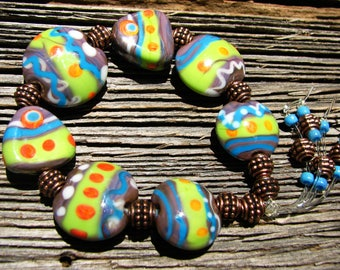 Colorful Gypsy Style Handmade Lampwork Glass Bead Stretch Bracelet SRA
