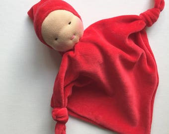 Red baby, Waldorf doll, Waldorf toy, for babies, first doll