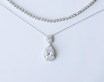 Minimalist Diamante Bezel Bridal Tennis Bracelet Teardrop Pendant Bridal Necklace Wedding Necklace Cocktail Jewelry