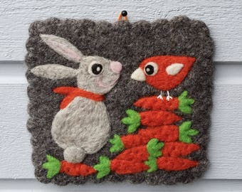 Gray wall hanging felted wool fiber art hand knit with needle felted bunny birdie bird carrots