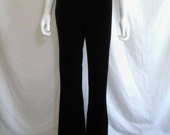 90s Vintage black boot flare  velvet stretchy pants 90s grunge goth club kid boho bohemian gypsy