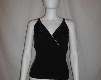 Closing Shop 40%off SALE 90s black white trim ribbed minimalist tank top shirt