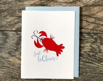 Just Beclaws Greeting Card, Hand Glittered Card, Blank Inside