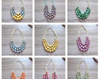 Wood beaded statement necklaces