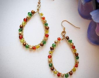 Simple Fall Colors Beaded Earrings