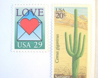 Desert Cactus Love Letter Postage, Red Heart Envelope Stamps, 49 cent mail for 10 Cards RSVPs 1 oz, Southwestern floral love postage stamps