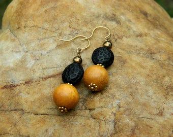 Czech and Wood(Jackfruit) Bead Earrings