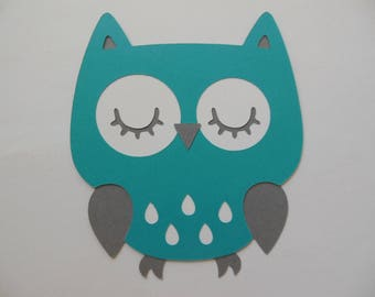 Owl Cutout - Teal, White and Gray - Birthday Party Decoration - Baby Shower Decorations - Set of 1