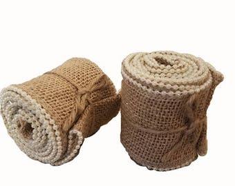 CLEARANCE - 2.5 inch Pearl Edge Burlap Ribbon - 1 pack (2 yards per roll x 6 rolls)