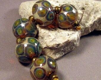 Handmade Lampwork Beads by Monaslampwork - Dragon's Tears - Lampwork Glass by Mona Sullivan Designs Reactive Silver Organic Bohemian Gypsy