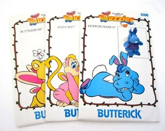 Butterick WUZZLES 3498 AND 3499  Butterbear AND Rhinokey Plush Toy Patterns ©1985 also issued as Butterick 383 & 384